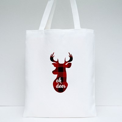 Oh Deer. Christmas Printables. Red Checkered Background. Vector Tote Bags