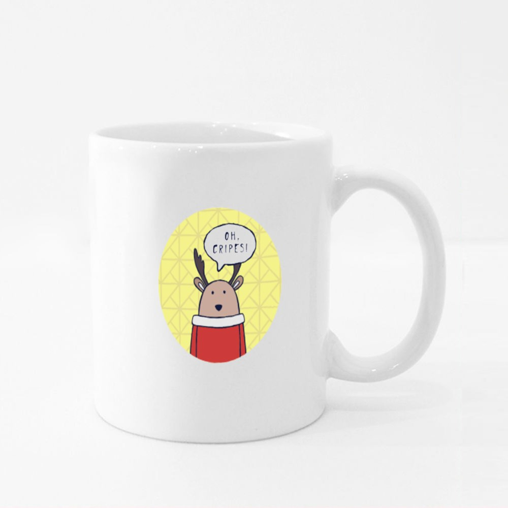 Funny Deer Says Oh, Cripes! Colour Mugs