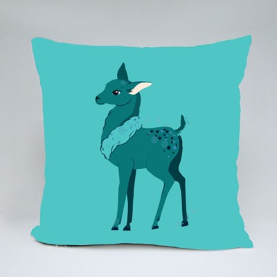 Cute Fawn in Winter Scarf, Xmas Reindeer Child Throw Pillows