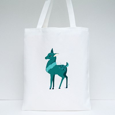 Cute Fawn in Winter Scarf, Xmas Reindeer Child Tote Bags
