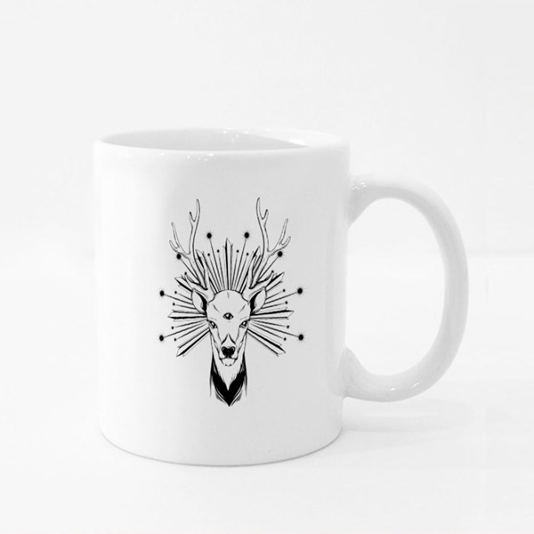 Hand Drawn Illustration of Deer With Three Eyes Colour Mugs