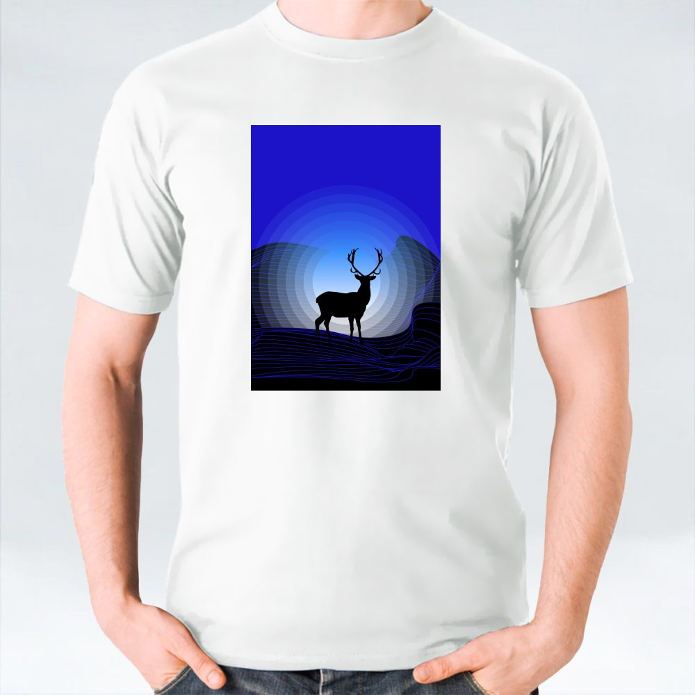 Surrealistic Fantasy Landscape With Mountains and Silhouette of Deer T-Shirts