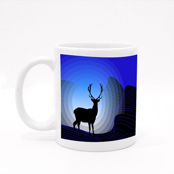 Surrealistic Fantasy Landscape With Mountains and Silhouette of Deer Colour Mugs