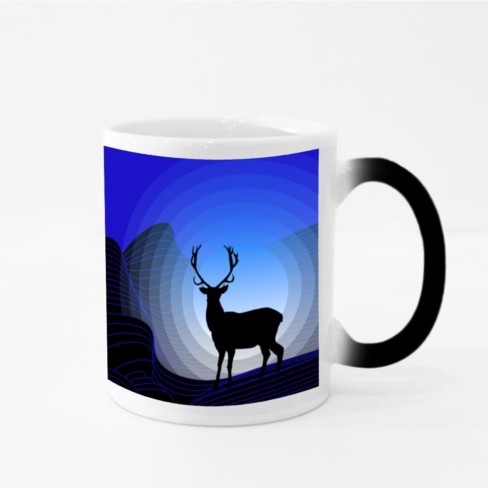 Surrealistic Fantasy Landscape With Mountains and Silhouette of Deer Magic Mugs