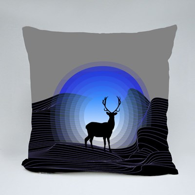 Surrealistic Fantasy Landscape With Mountains and Silhouette of Deer Throw Pillows