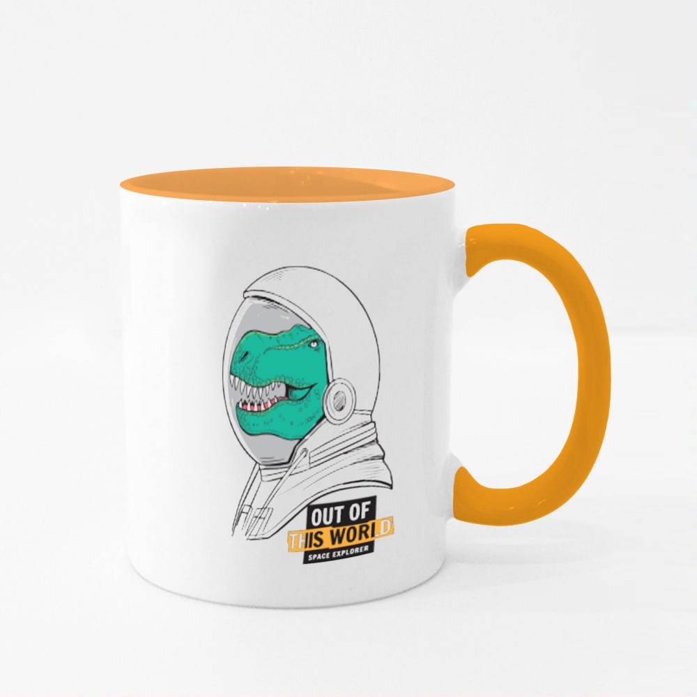 Out of This World Astronaut Dinosaur Colour Mugs