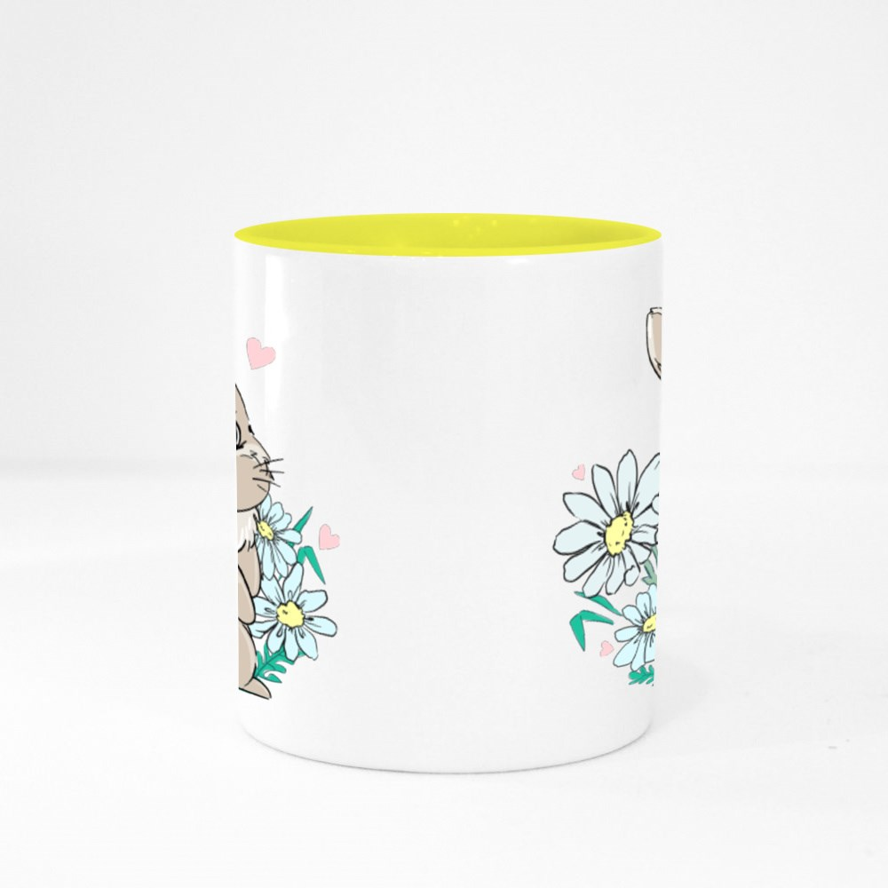 Cute Bunny Sits in Flowers, Daisies Colour Mugs