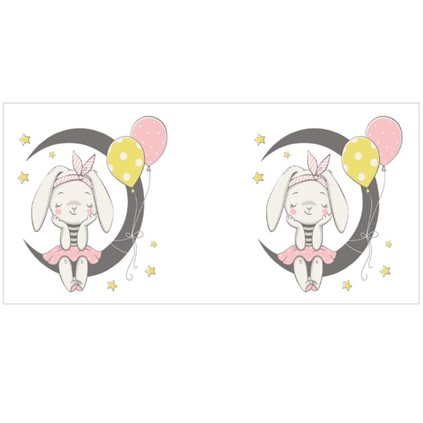 Cute Dreaming Bunny Girl Colour Mugs