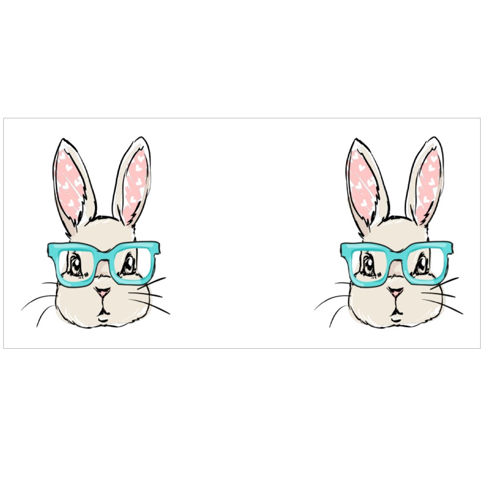 Hand Drawn Rabbit With Glasses Colour Mugs