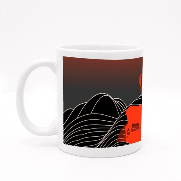 Surrealistic Creepy Landscape With Mountains and Silhouette Colour Mugs