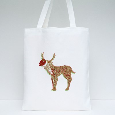 Illustration of the Stylized Shamanic Psychedelic Deer at Red Square B Tote Bags