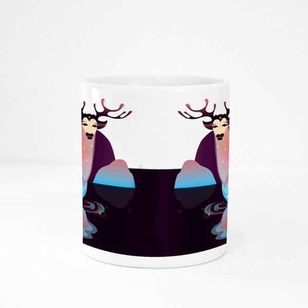 Decorative Fantasy Deer That Stands in the Water. Beautiful Background Colour Mugs