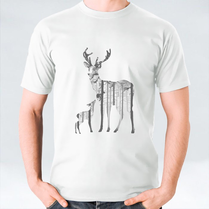 Silhouette of Deers in Pine Forest T-Shirts
