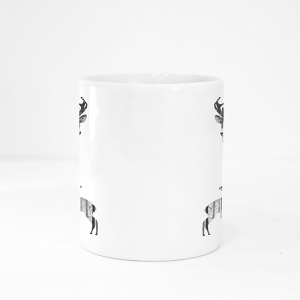 Silhouette of a Deer With a Small Deer. Inside the Deer Is a Pine Fore Colour Mugs