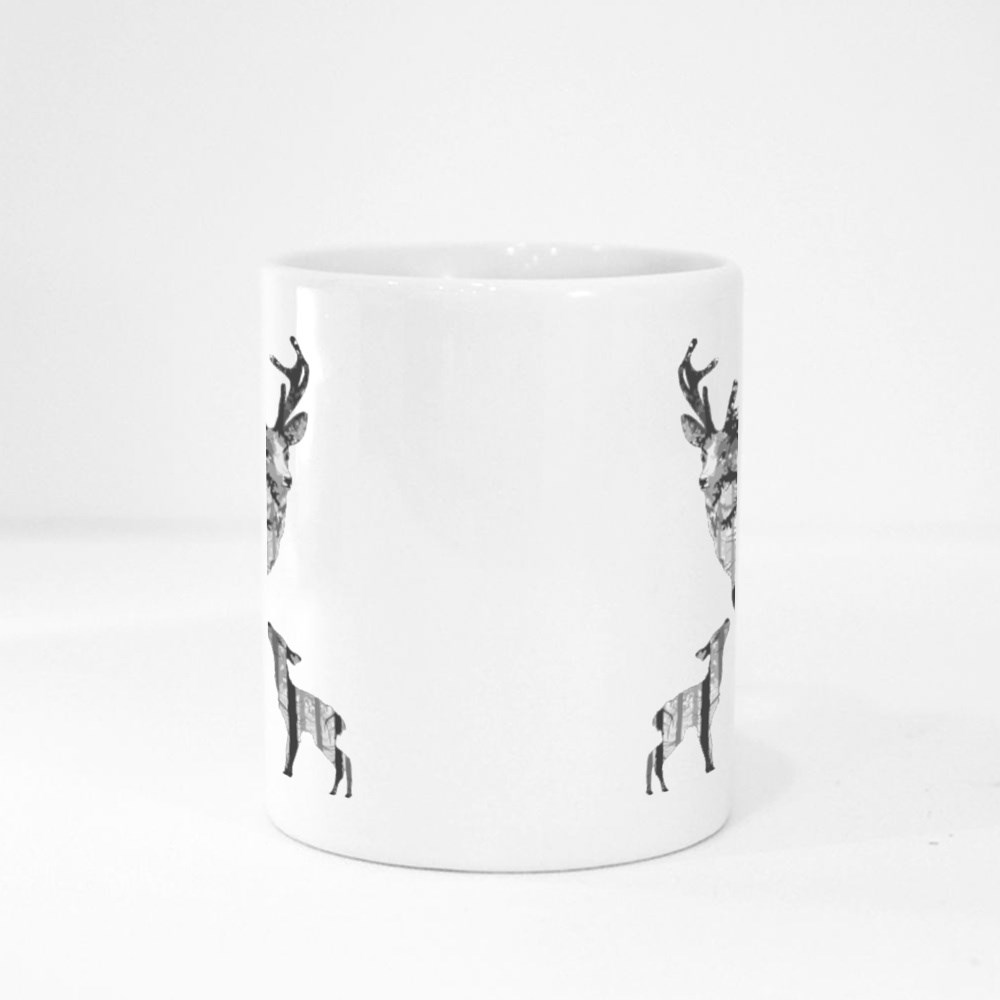 Silhouette of a Deer With a Small Deer. Inside the Deer Is a Pine Fore Magic Mugs