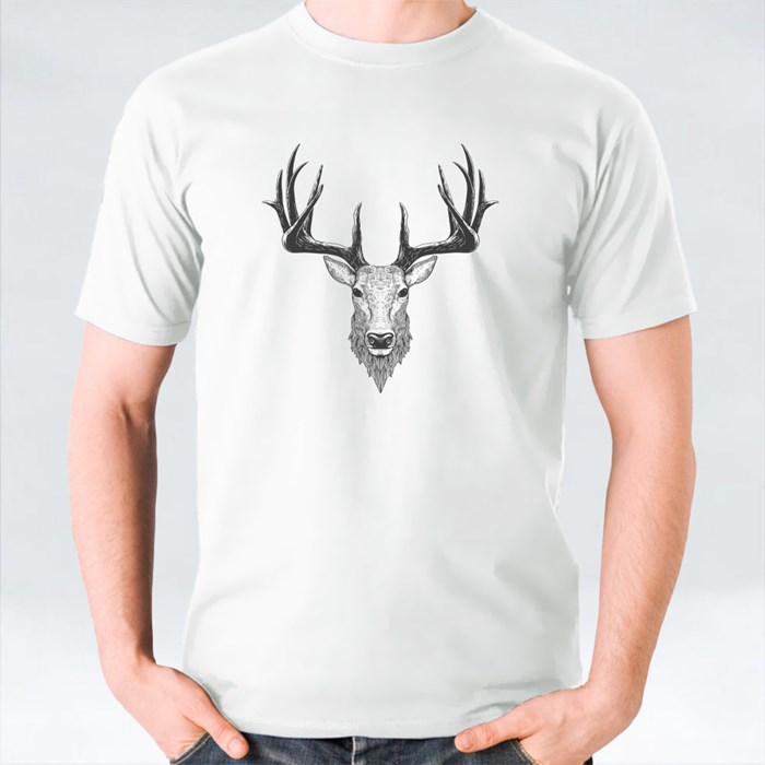 Deer Head on White, Hand Drawn Vintage Illustration T-Shirts