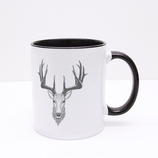 Deer Head on White, Hand Drawn Vintage Illustration Colour Mugs