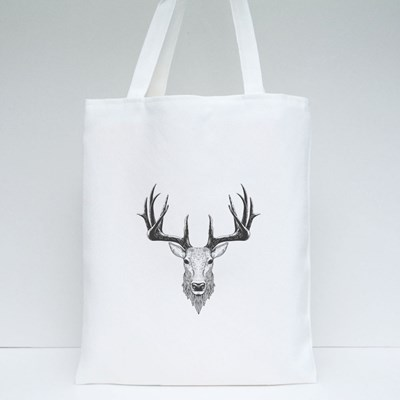 Deer Head on White, Hand Drawn Vintage Illustration Tote Bags