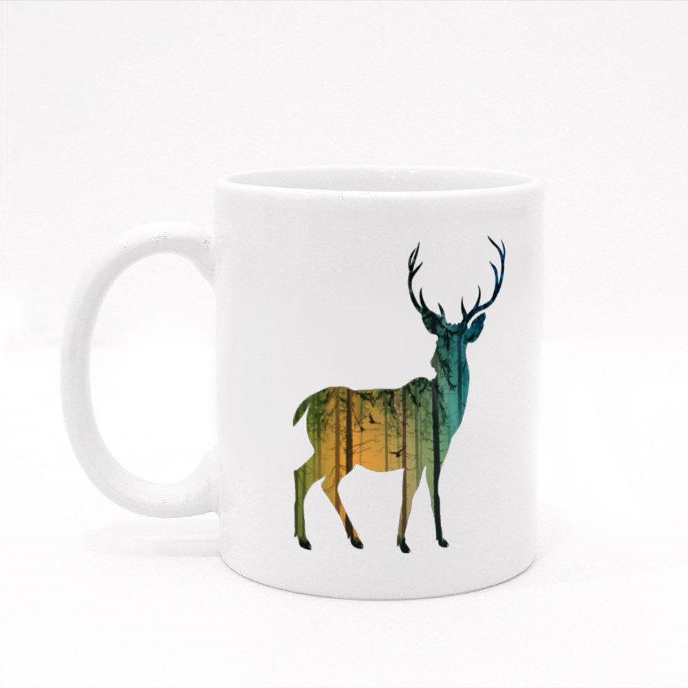 Pine Forest Deer Colour Mugs