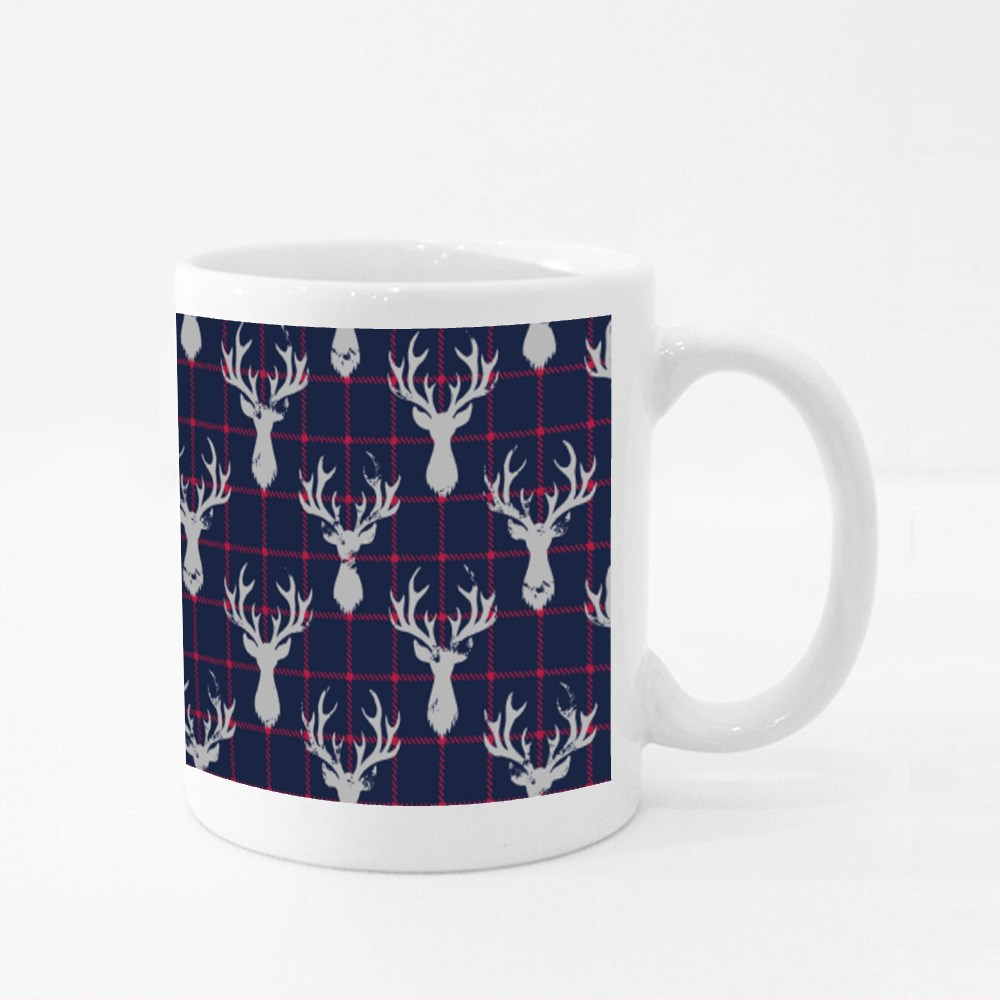 White Textured Silhouettes of a Deer Head on a Classic Blue and Red Ch Colour Mugs