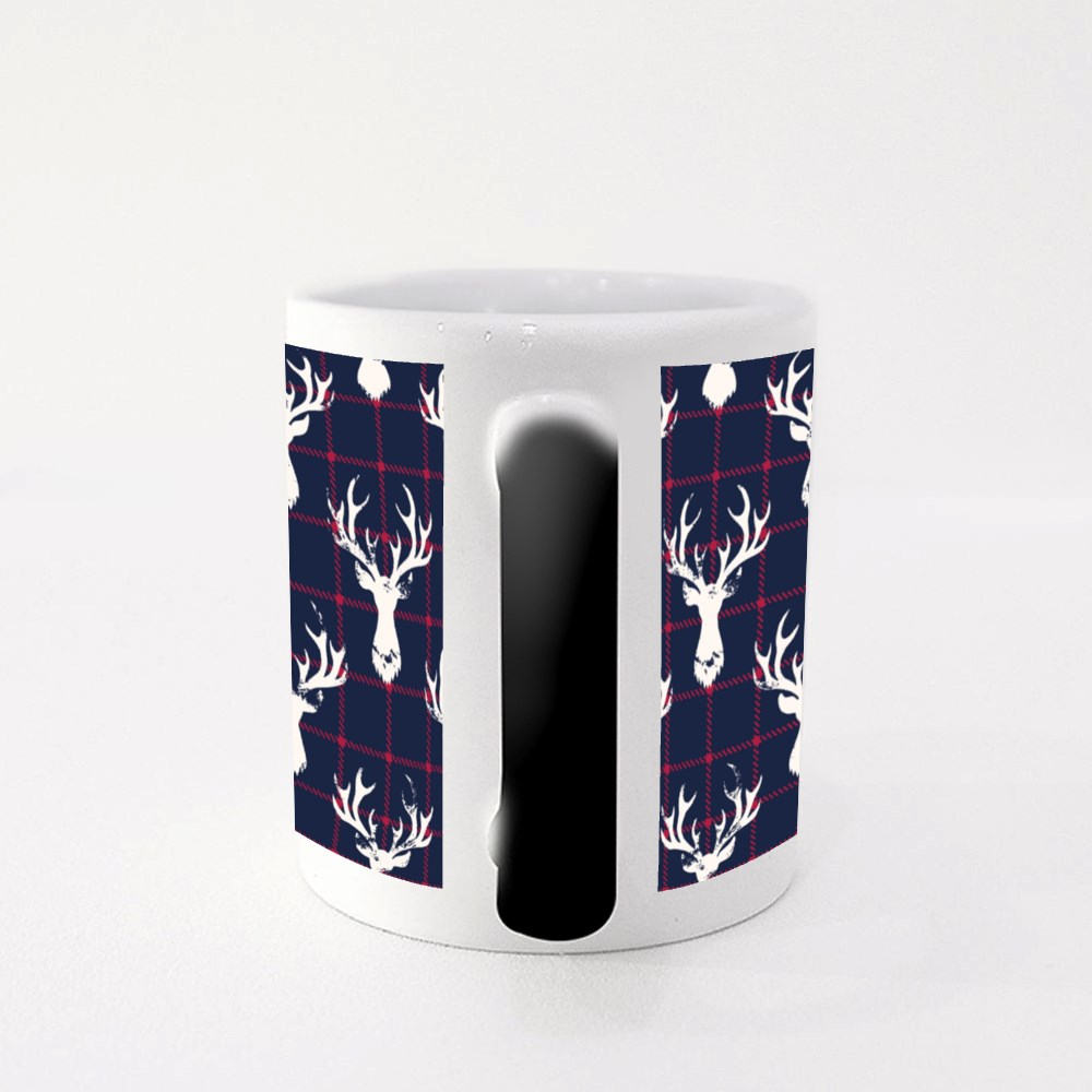 White Textured Silhouettes of a Deer Head on a Classic Blue and Red Ch Magic Mugs