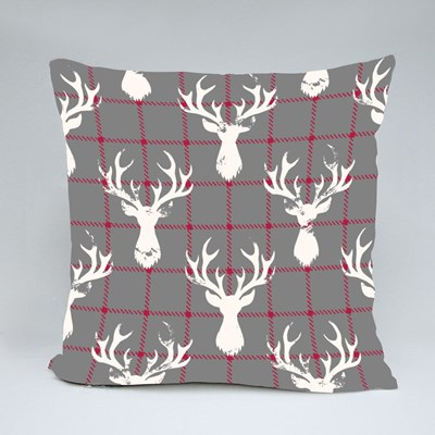 White Textured Silhouettes of a Deer Head on a Classic Blue and Red Ch Throw Pillows