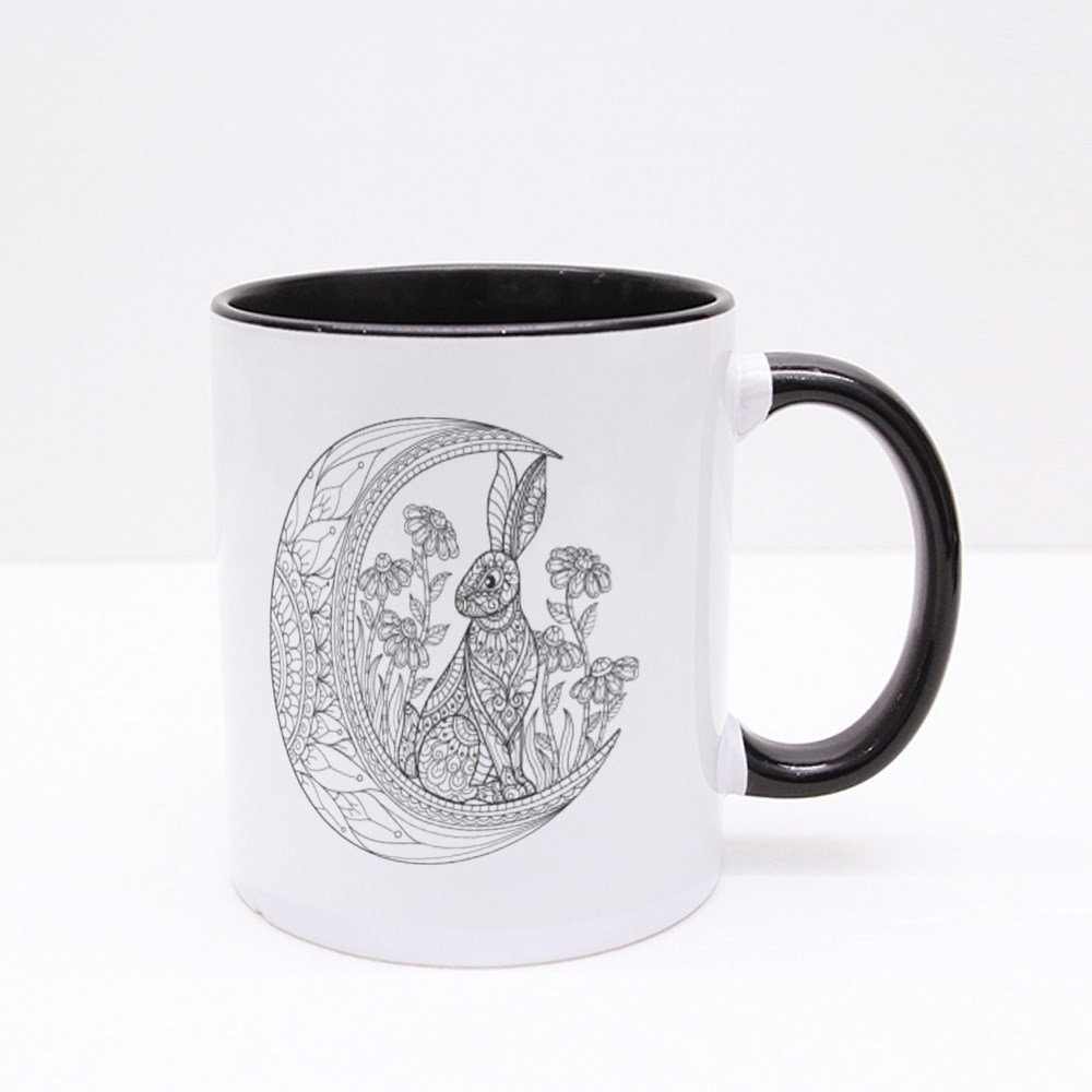 Rabbit on the Moon, Coloring Book Style Colour Mugs