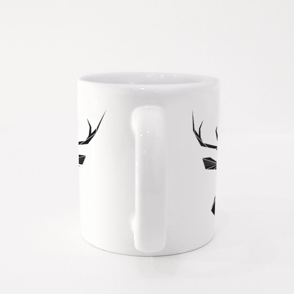Vector Hipster Abstract Geometric Background With Deer Colour Mugs