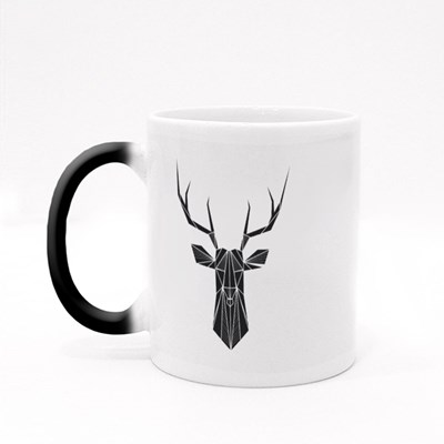Vector Hipster Abstract Geometric Background With Deer Magic Mugs