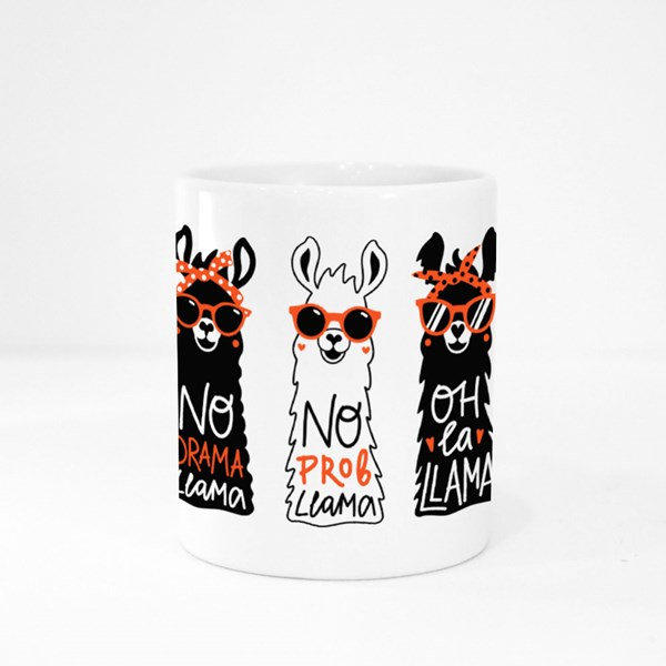 Llama Set in Red Sunglass and Headband Colour Mugs