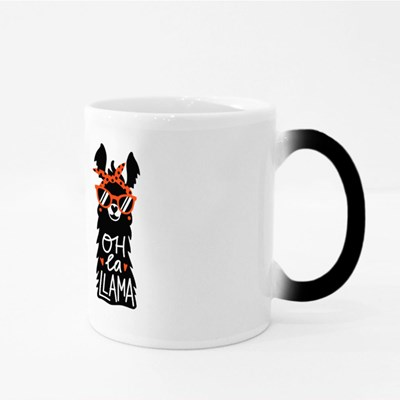 Llama Set in Red Sunglass and Headband Magic Mugs