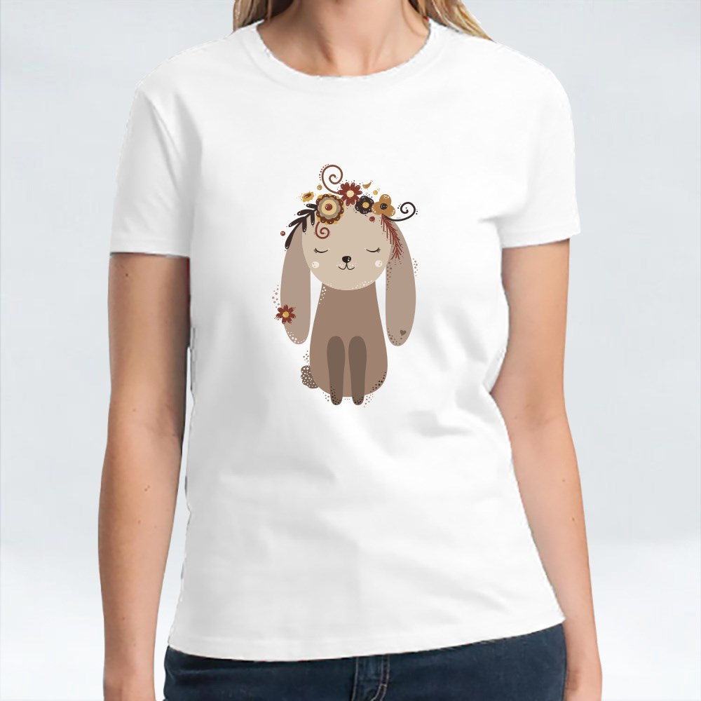 Cute Beige Rabbit With Flowers on Its Head T-Shirts