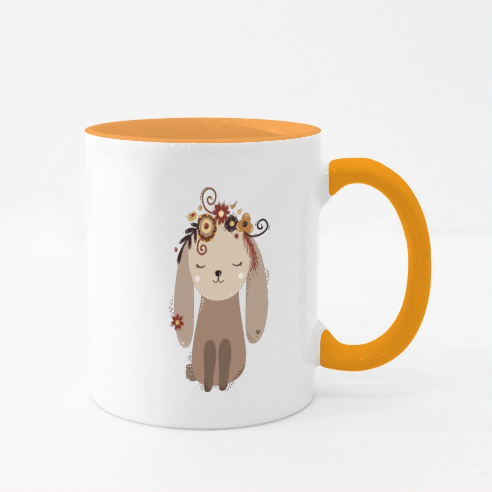 Cute Beige Rabbit With Flowers on Its Head Colour Mugs