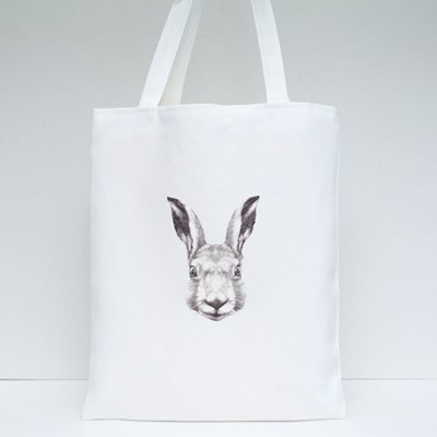 Hand Drawn Rabbit's Head Tote Bags