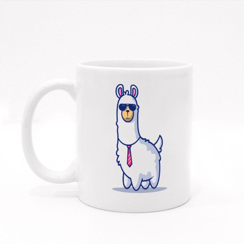 Cute Business Llama Mascot Colour Mugs
