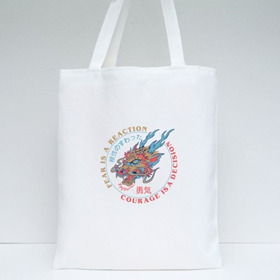 Fearless , Courage Dragon Head Tote Bags
