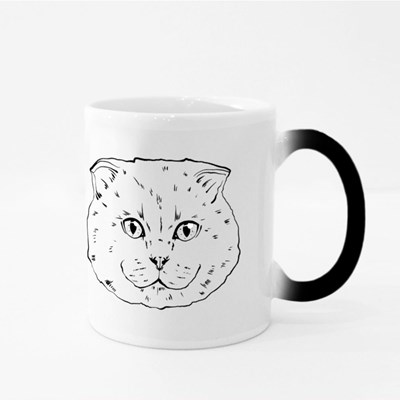Black and White Muzzle of a British Cat Magic Mugs