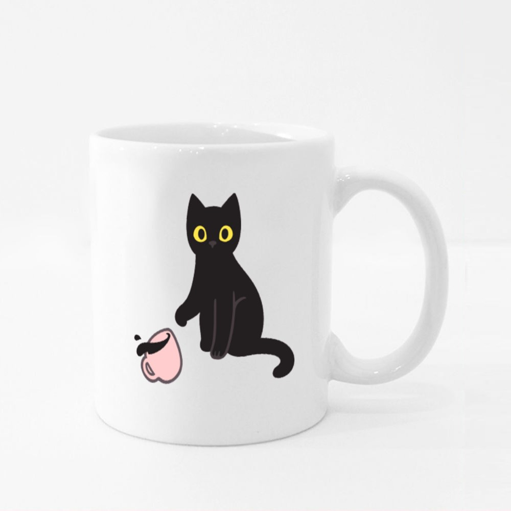 Cute Black Kitten Throwing Coffee Cup Off Table Colour Mugs