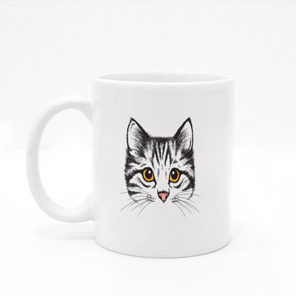 Vector Sketch of a Stylized Kitten's Face Colour Mugs