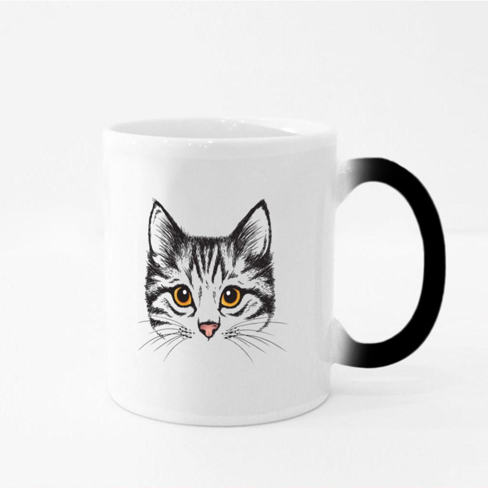 Vector Sketch of a Stylized Kitten's Face Magic Mugs
