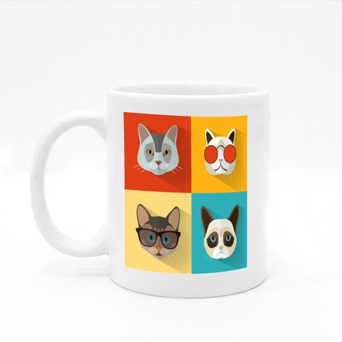 Animal Portrait Set With Flat Design Colour Mugs