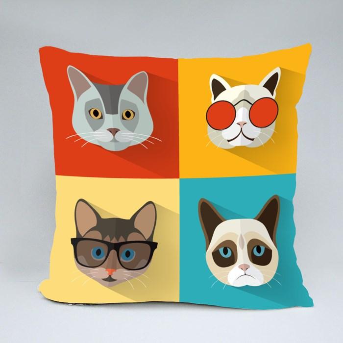 Animal Portrait Set With Flat Design Throw Pillows