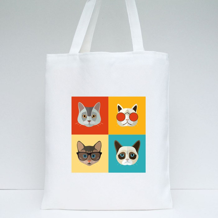Animal Portrait Set With Flat Design Tote Bags