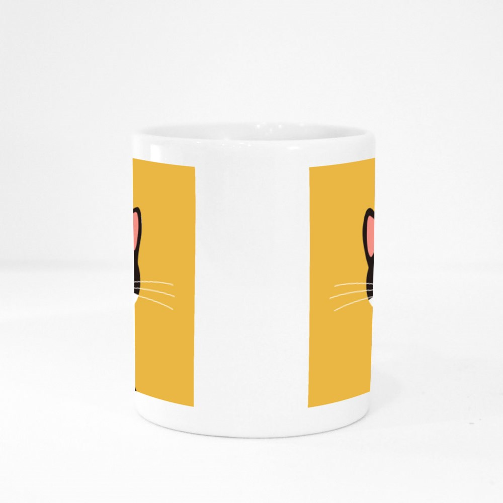 Flat Design, Cat Face With Yellow Background. Colour Mugs