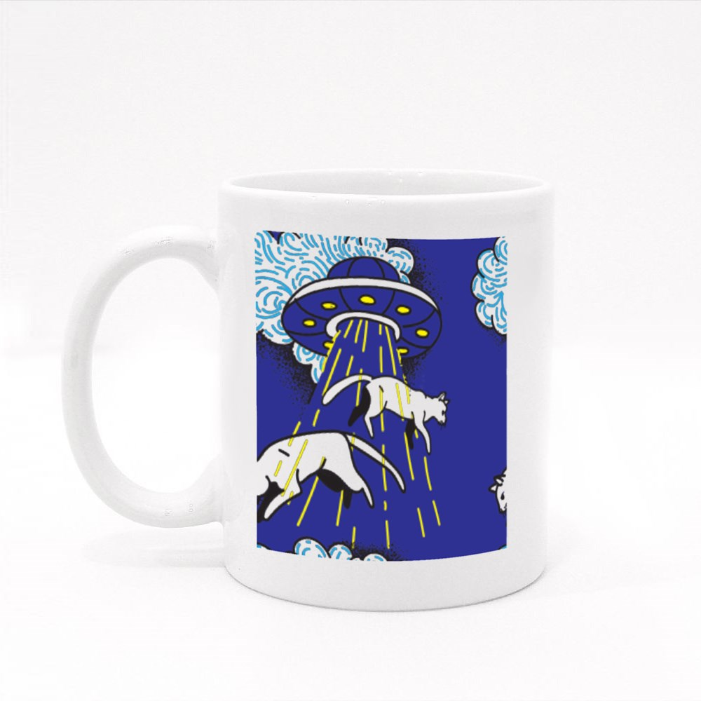 Ufo Kidnaps Cats Fly in the Air Colour Mugs