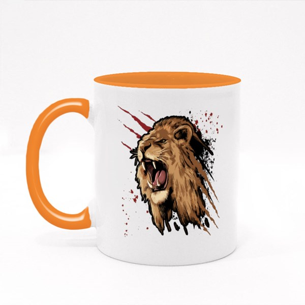 Roaring Lion With Claws Scratches and Blood Stains Colour Mugs