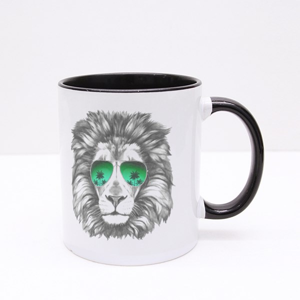 Hand Drawn Lion With Sunglasses Colour Mugs