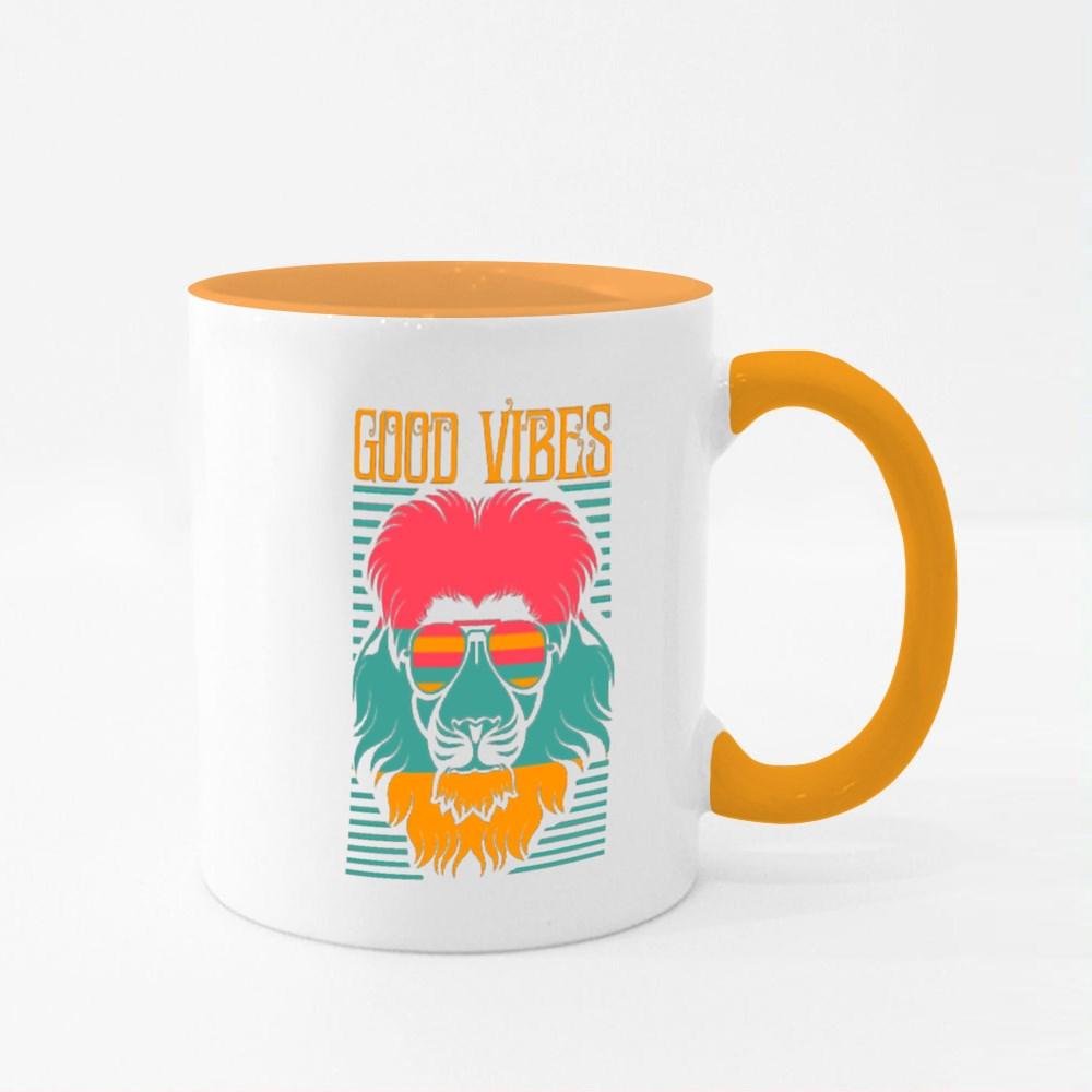 Good Vibes Lion Face T Shirt Design Colour Mugs