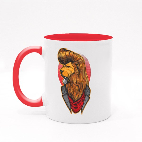 Lion With Cool Hair Style Wearing Jacket. Colour Mugs