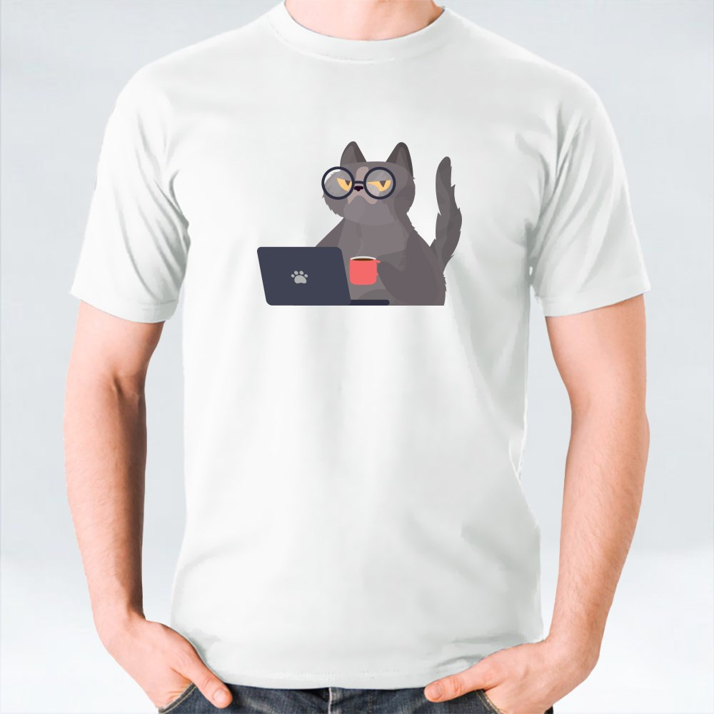 Cat in Glasses and Coffee Cup T-Shirts